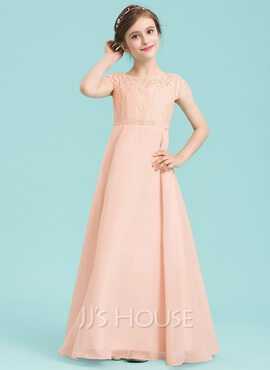 A-Line Scoop Neck Floor-Length Chiffon Junior Bridesmaid Dress With Beading (009149003)