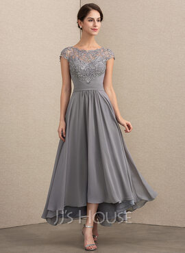 A-Line Scoop Neck Asymmetrical Chiffon Lace Cocktail Dress (016192766)