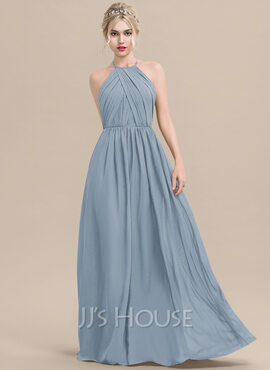 A-Line Scoop Neck Floor-Length Chiffon Bridesmaid Dress With Ruffle (007116652)