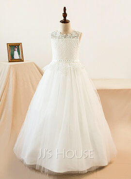 Ball-Gown/Princess Scoop Neck Floor-Length Tulle Junior Bridesmaid Dress With Sash Beading (009136423)