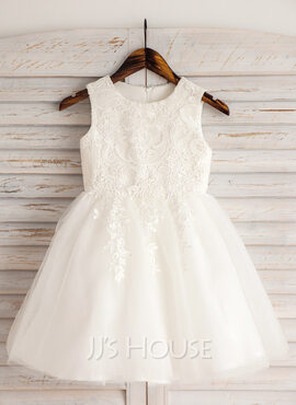 A-Line Knee-length Flower Girl Dress - Satin/Tulle/Lace/Cotton Sleeveless Scoop Neck With Appliques (010092646)