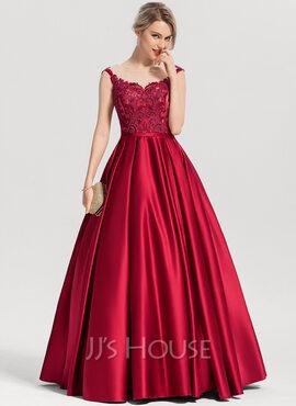 Ball-Gown/Princess Scoop Neck Floor-Length Satin Evening Dress With Sequins (017153632)