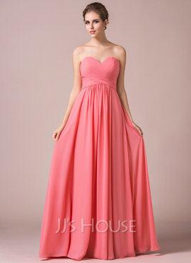 A-Line Crinkle Sweetheart Floor-length Chiffon Bridesmaid Dress