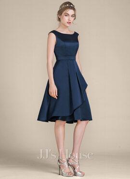 A-Line/Princess Scoop Neck Knee-Length Satin Bridesmaid Dress With Cascading Ruffles (007104719)