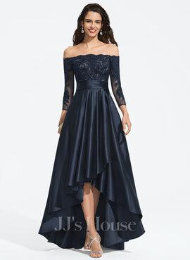 A-Line Off-the-Shoulder Asymmetrical Satin Prom Dresses (018187198)