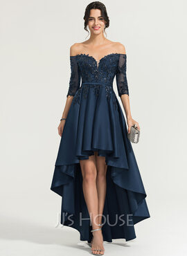 A-Line Off-the-Shoulder Asymmetrical Satin Evening Dress With Sequins (017167716)