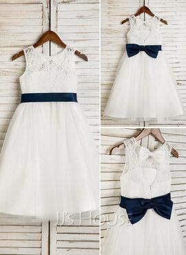 A-Line/Princess Tea-length Flower Girl Dress - Tulle/Lace Sleeveless Scoop Neck With Sash/Bow(s)/Back Hole (Undetachable sash) (010091698)