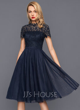 A-Line High Neck Knee-Length Tulle Cocktail Dress (016140367)