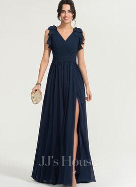 A-Line V-neck Floor-Length Chiffon Evening Dress With Split Front (017167694)