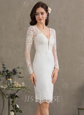 Sheath/Column V-neck Knee-Length Stretch Crepe Wedding Dress (002186402)