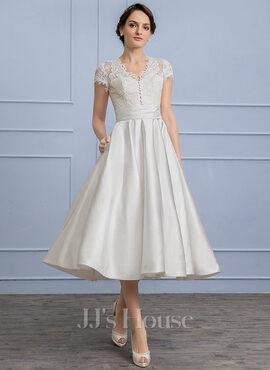 A-Line/Princess V-neck Tea-Length Satin Wedding Dress With Ruffle Pockets (002107827)