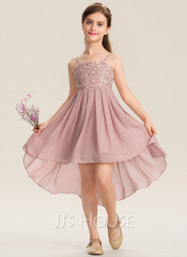 A-Line Square Neckline Asymmetrical Chiffon Lace Junior Bridesmaid Dress (009173297)