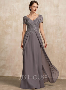 A-Line V-neck Floor-Length Chiffon Lace Mother of the Bride Dress (008217325)