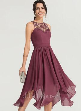 A-Line Scoop Neck Asymmetrical Chiffon Cocktail Dress (016170860)