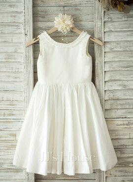 A-Line/Princess Knee-length Flower Girl Dress - Cotton Sleeveless Scoop Neck (010093388)