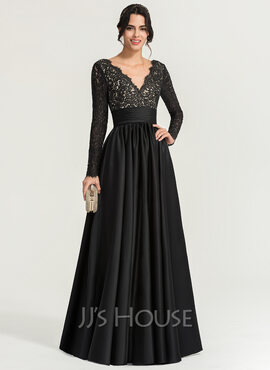 A-Line V-neck Floor-Length Satin Evening Dress (017167696)