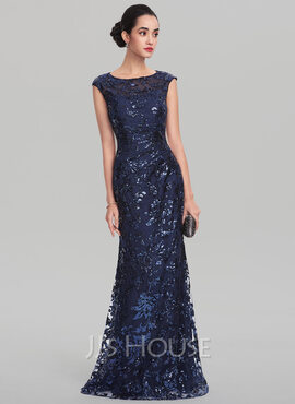 Sheath/Column Scoop Neck Floor-Length Sequined Evening Dress (017137388)