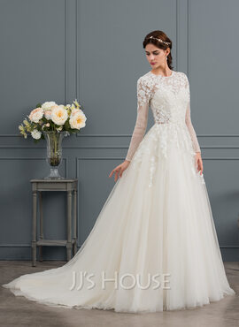 Ball-Gown/Princess Scoop Neck Chapel Train Tulle Wedding Dress With Beading Sequins (002145304)