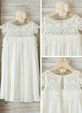 Empire Knee-length Flower Girl Dress - Chiffon/Lace Sleeveless Scoop Neck (010090574)