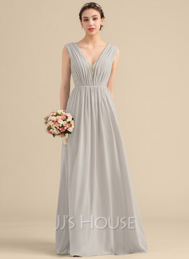 A-Line/Princess V-neck Floor-Length Chiffon Lace Bridesmaid Dress With Ruffle (007153342)