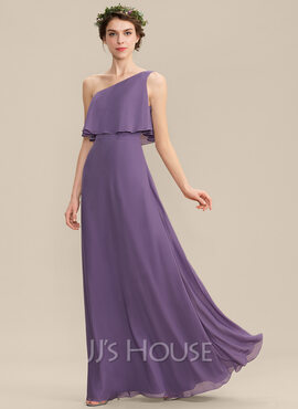 A-Line One-Shoulder Floor-Length Chiffon Bridesmaid Dress (007165844)