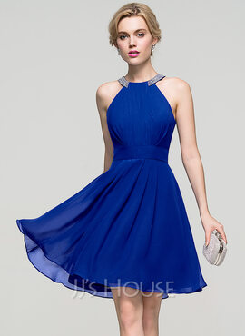 A-Line Scoop Neck Knee-Length Chiffon Homecoming Dress With Ruffle Beading (022089920)
