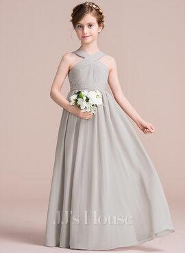 A-Line V-neck Floor-Length Chiffon Junior Bridesmaid Dress With Ruffle Bow(s) (009097070)
