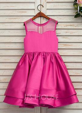 A-Line/Princess Tea-length Flower Girl Dress - Satin/Tulle Sleeveless Scoop Neck (010146241)