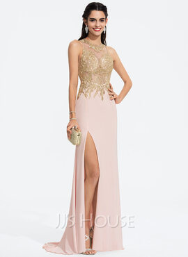 Sheath/Column Scoop Neck Sweep Train Jersey Prom Dresses With Lace (018187186)