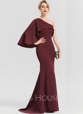 Trumpet/Mermaid One-Shoulder Sweep Train Stretch Crepe Evening Dress With Cascading Ruffles (017153629)