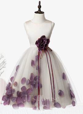 A-Line Knee-length Flower Girl Dress - Satin/Tulle Sleeveless Scoop Neck With Flower(s) (010104752)