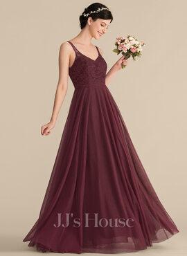 A-Line/Princess V-neck Floor-Length Tulle Lace Bridesmaid Dress (007153305)