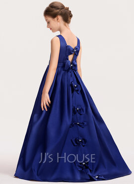 Ball-Gown/Princess Scoop Neck Sweep Train Satin Junior Bridesmaid Dress With Bow(s) (009191716)