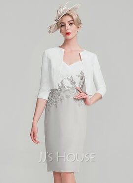 Sheath/Column Sweetheart Knee-Length Chiffon Lace Mother of the Bride Dress With Ruffle (008114246)