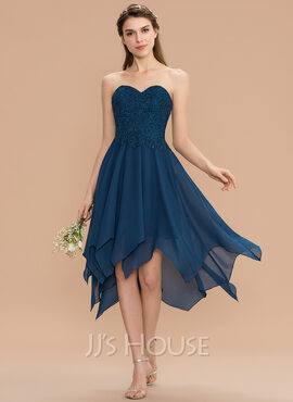 A-Line Sweetheart Asymmetrical Chiffon Lace Bridesmaid Dress (007165872)