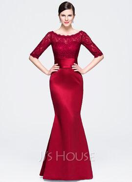 Trumpet/Mermaid Scoop Neck Floor-Length Satin Lace Evening Dress (017071564)
