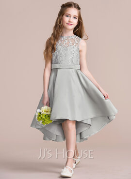 A-Line Scoop Neck Asymmetrical Satin Junior Bridesmaid Dress (009095078)