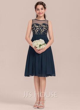 A-Line Scoop Neck Knee-Length Chiffon Junior Bridesmaid Dress (009130659)