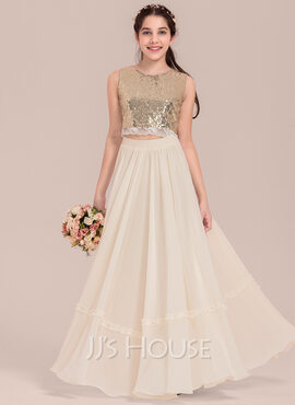 A-Line Scoop Neck Floor-Length Chiffon Junior Bridesmaid Dress With Lace (009130655)