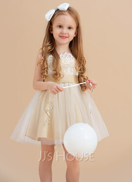 A-Line/Princess Knee-length Flower Girl Dress - Tulle/Lace Sleeveless Straps With Sash/Bow(s) (Undetachable sash) (010095012)