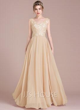 A-Line/Princess V-neck Floor-Length Chiffon Lace Prom Dresses (018116384)