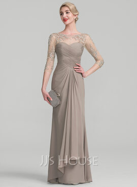 A-Line Scoop Neck Floor-Length Chiffon Lace Evening Dress With Beading Sequins Cascading Ruffles (017130695)