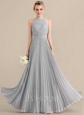 A-Line Scoop Neck Floor-Length Chiffon Lace Bridesmaid Dress With Pleated (007144770)