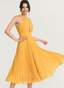 A-Line V-neck Tea-Length Chiffon Cocktail Dress With Pleated (016170861)