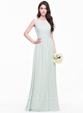 A-Line Scoop Neck Floor-Length Chiffon Bridesmaid Dress With Ruffle (007068368)