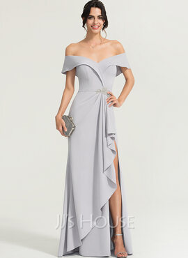 Sheath/Column Off-the-Shoulder Floor-Length Stretch Crepe Evening Dress With Beading Split Front Cascading Ruffles (017167692)