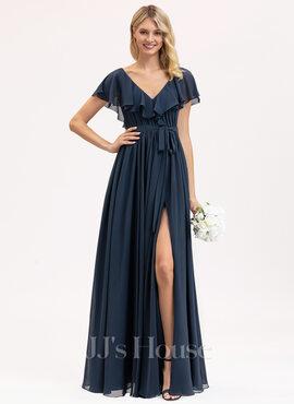 A-Line V-neck Floor-Length Chiffon Bridesmaid Dress With Bow(s) Split Front Cascading Ruffles (007206476)