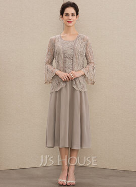 A-Line Scoop Neck Tea-Length Chiffon Lace Mother of the Bride Dress With Sequins (008164088)