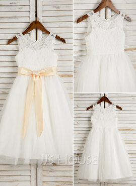 A-Line/Princess Tea-length Flower Girl Dress - Tulle/Lace Sleeveless Scoop Neck With Sash/Bow(s) (010091700)
