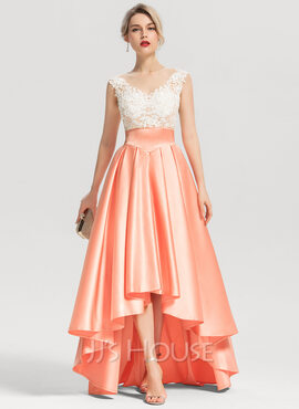A-Line Scoop Neck Asymmetrical Satin Evening Dress With Beading (017153618)